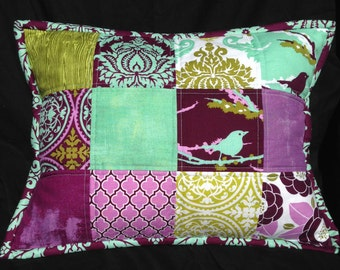 Quilted Pillow Cover made with Aviary 2 Fabric, Mint, Light Purple, Dark Purple, Lime Green & Sage Green Lumbar