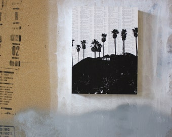 Hollywood Sign Print Los Angeles Landmark Hollywood SIgn Poster Print Black and White Old Hollywood Photography Los Angeles Artwork