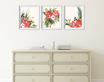 Watercolor Red Flower Art Prints , Set of 3 Wall Decor Red Flowers , Dining Room Wall Art , Kitchen Wall Decor, Flower Watercolor Wall Art