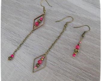"*~. Earrings ""Mismatched"". ~ * pink, fuschia, bronze, fine, different, original"