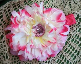 Flower Girl Peony Dog Collar Extra Large