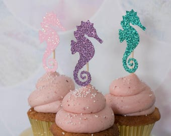Seahorse Cupcake Toppers - Set of 12 - Little Mermaid Theme Decor - Under the Sea Theme Toppers - Mermaid Birthday Decor - Glitter Toppers