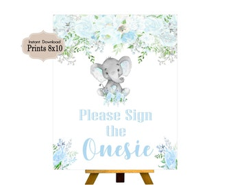 Please Sign the Onesie, Candy Table Sign, Baby Shower, Birthday Party, Baby Boy, Blue Elephant,Elephant, Flowers, Floral BE101