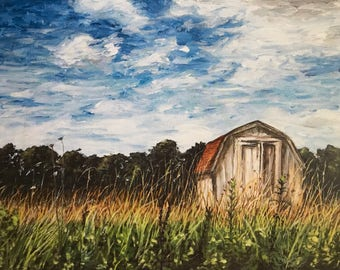 Barn Painting. Print of Original Painting. Country Painting, Landscape, Acrylic Painting, Print, Wall Art.