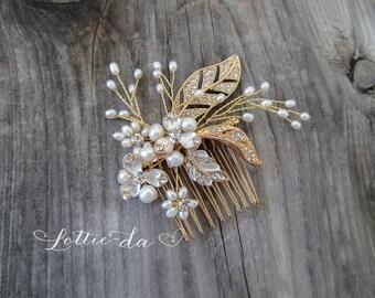 Gold or Silver Pearl Bridal Wedding Comb, Boho Wedding Hair Vine, Wedding Gold Hair vine leaves, Wire Hair Comb, Boho Headpiece - 'CALLIE'