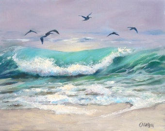 """Oil Painting, Original Art, """"Pelicans in Flight,"""" 8x10 Oil on Canvas Panel, Seascape with Birds, Beach Scene , FREE SHIPPING in US"""