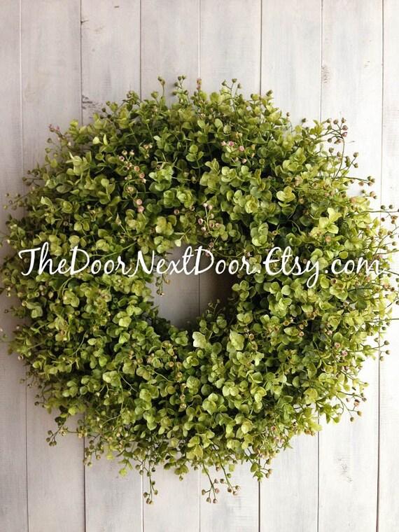 Eucalyptus Wreath   Summer Wreaths   Spring Wreath For Mothers Day    Eucalyptus Door Hanger   Front Door Wreath   Year Round Wreath