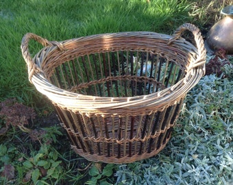 Tall willow open weave kindling basket