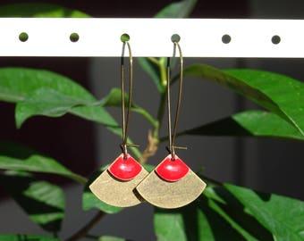 Red and bronze geometric EARRINGS