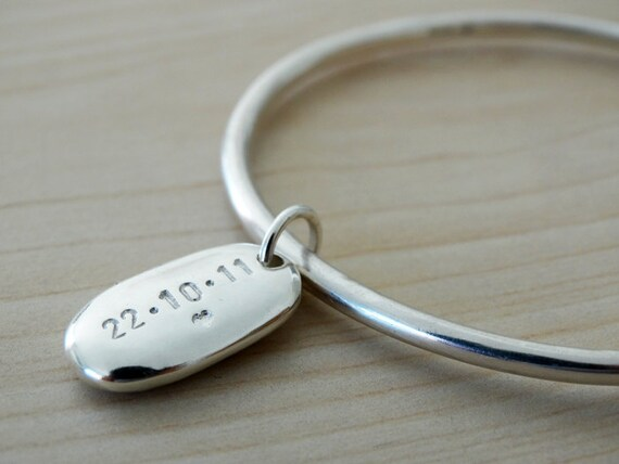 Solid Silver Bangle & Personalised Pebble, Sterling Silver