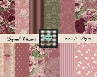 Digital Paper, Scrapbook Paper, Shabby Digital Paper, Vintage Damask Pink Rose Collage Digital Paper, Scrapbook Supplies. No. P165