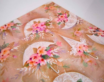1970s Wedding Wrapping Paper Brown Tan Pink Flowers Floral Umbrellas Parasols Gift Wrap