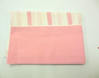 Pink Stripped Vintage Pillowcase Crafting Bedding