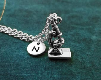 Microscope Necklace SMALL Microscope Charm Necklace Scientist Necklace Biologist Necklace Science Jewelry Personalized Initial Pendant Gift