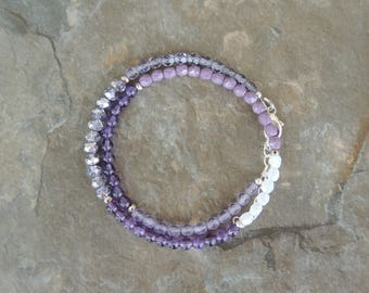 Amethyst Bracelet - Purple Bracelet for Women - Boho Bracelet - Wrap Bracelet for Her - Gemstone Bracelet - Gift for Girlfriend