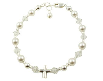 Silver Cross, pearl and crystal Christening Bracelet, Baptism First Communion Bracelet