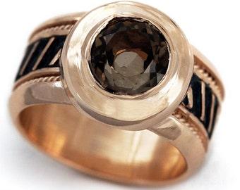 Rose gold ring, Alternative Engagement Ring, Unique rose gold engagement ring, Smoky quartz, Promise Ring, Rose gold ring men, Brown stone