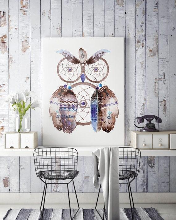 Boho Owl | Canvas art | Wall decor | Hippie art | Feathers | Dreamcatcher | Native americans art | art prints for sale | Watercolor