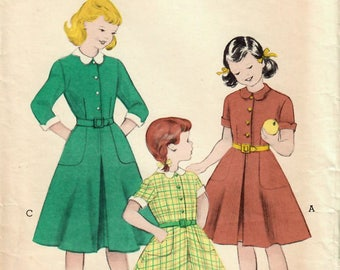 1950s Butterick 6232 Vintage Sewing Pattern Girls Shirtwaist Dress, Flared Skirt Dress Size 6, Size 8