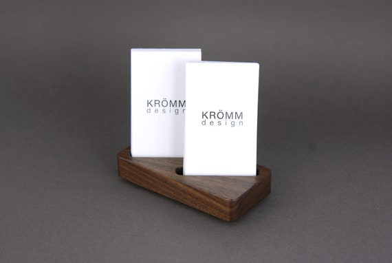Wood two card stand for vertical business cards or moo cards reheart Choice Image