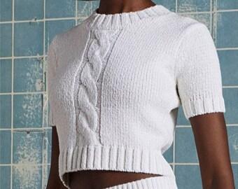 Short Braid Sweater, White Sweater, Cotton Sweater, Crop Sweater