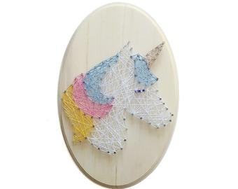 Unicorn DIY design, Unicorn String art, kid's craft, string art kit, nursery decor, birthday gift, craft activity, DIY fox