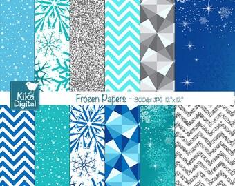 Frozen Digital Papers, Winter Scrapbook Papers - card design, invitations, background - INSTANT DOWNLOAD