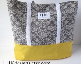 Extra large heavy duty tote bag in yellow and gray damask