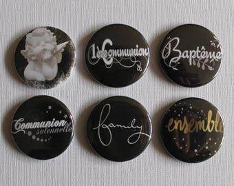 """BADGES """"Angel"""", handmade, (flat back) scrapbooking embellishment, brooch (PIN back), magnet (magnetic back)"""