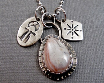 Ocean Jasper Necklace with Stamped Charms - Sterling silver Necklace Rustic Boho - Story Necklace