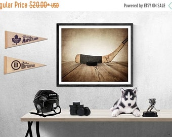 FLASH SALE til MIDNIGHT Vintage Hockey Stick and Puck on Wood Photo Photographic art Print, Boys Room decor, Boys Nursery Ideas, Sports art,