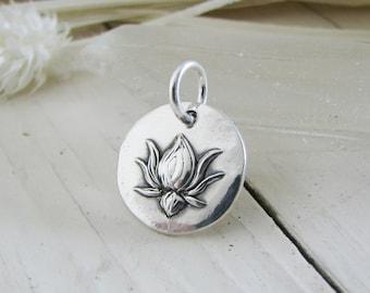 Petite Lotus Pendant, Personalized, Recycled Fine Silver, Exclusive and Original