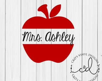 Apple Decal - Monogram Apple Decal - Teacher Gift - Teacher Appreciation Decal - Monogram Decal - Monogram Teacher Decal - Teacher Decal