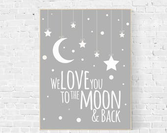 We love you to the moon and back, nursery decor, moon print, nursery wall art, new baby gift, baby room decor, baby room art, coral, pink