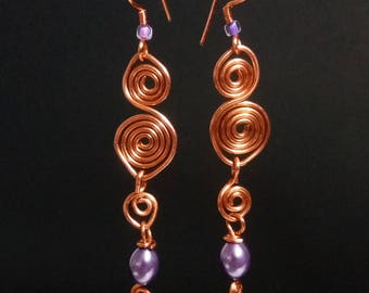 Copper Spiral and Purple Pearl Earrings