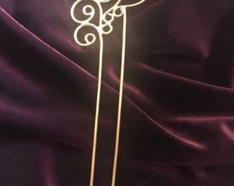 Brass Swirl Hair pick, Hair comb, hair stick, swirl comb, hair accessory, brass pin