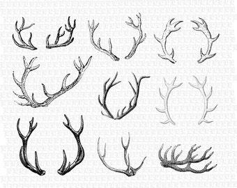 Printable Deer Antlers Vintage Graphics Digital Collage Sheet Instant Download 2429