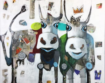 AB-Squirrel-Original acrylic painting, contemporary art, Pop Art, 100 x 100 cm, canvas
