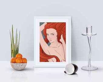 The Woman with the Red Hair • Print illustrated by Brenden Roel de Vries