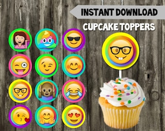 Emoji Cupcake Toppers // DIY // 12 Emoji Toppers // Instant Download // Printable // Emoji Birthday Party // Social Media Party