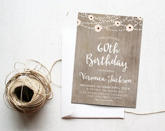 60th Birthday Invitation Rustic Mason Jar Surprise Bday