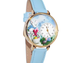 Whimsical Easter Watch Women's-Hand Painted-Blue Leather-Scratch Resistant Glass-Quartz Movement-Made in USA-Battery & Gift Box