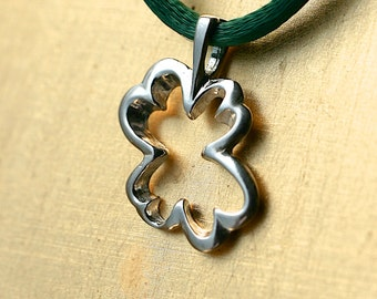 St Patricks Day Pendant, Four Leaf Clover, Silver Shamrock, Clover Charm Pendant, Meaningful Jewelry for Everyday Life