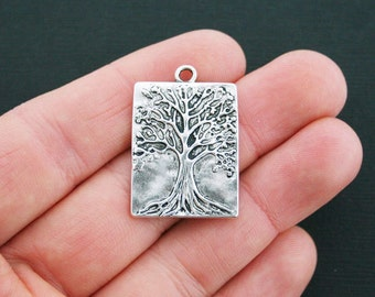 4 Tree Charms Antique Silver Tone Rectangle Tree of Life Charms - SC4479