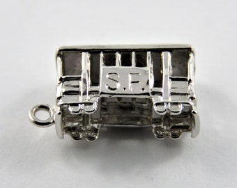 Old Type Streetcar or Cable Car Sterling Silver Charm of Pendant.