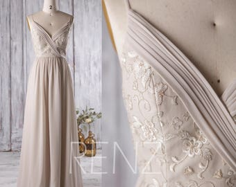 Cream/Beige Bridesmaid Dress, V Neck Wedding Dress with Lace, Spaghetti Strap Evening Gown, Long Prom Dress, V Back Floor Length (L130)