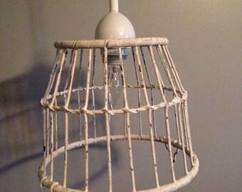 White Basket Pendant Light