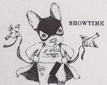 "Funny TOTE BAG ""Showtime""/ bouledogue/ super-héros/ striptease/ Disney/ tote gris/ illustration marrante/  oldschool/ Paris"