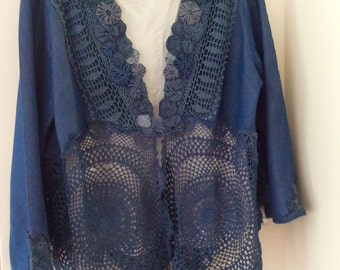 Denim Romance Plus Size Bohemian Upcycled Couture Jacket One of a kind