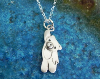 Cute teddy bear sterling silver necklace - baby shower gift - gift for mom - baby boy charm Valentine gift